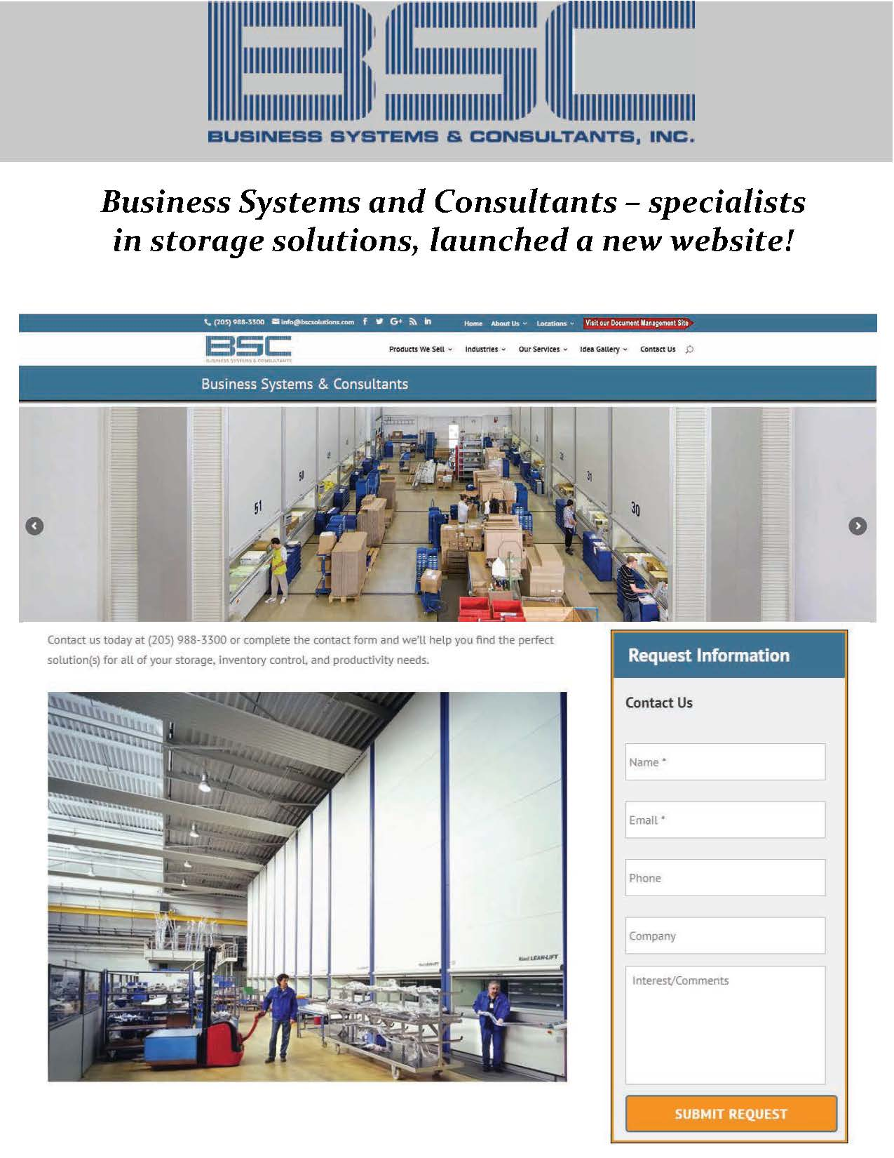 Business Systems and Consultants Launched a New Material Storage Website!
